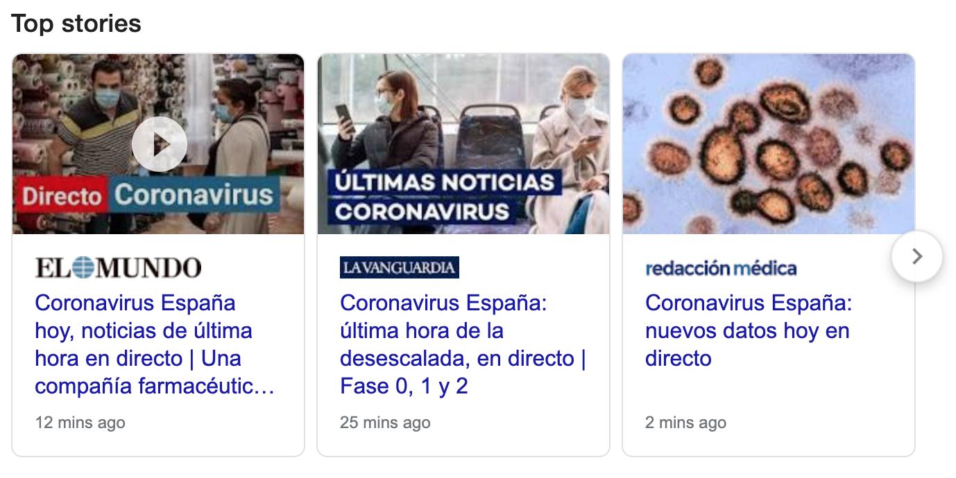 Top stories Google SERPs