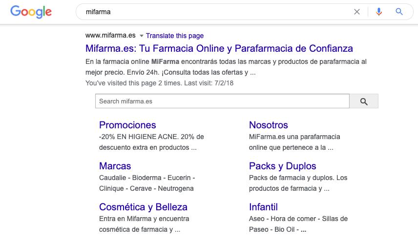 Search box Google SERPs