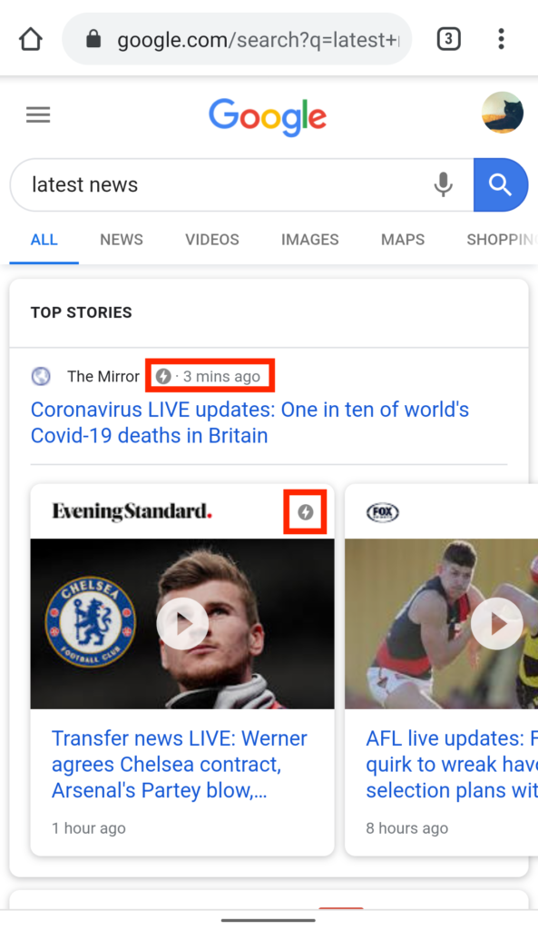 AMP icon in Google's Top Stories