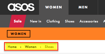 Breadcrumbs in Asos.com