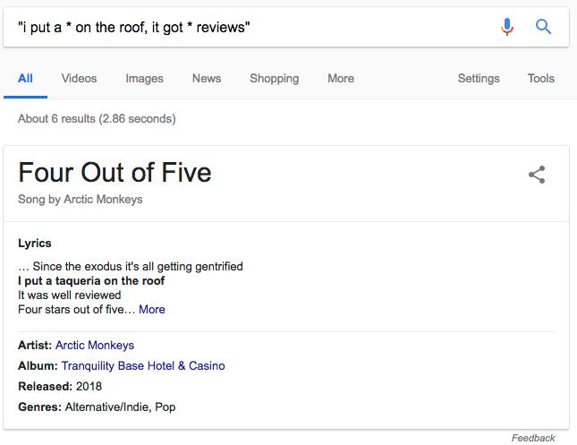 Asterisks Google