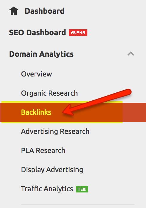 Backlink analysis with SEMRush