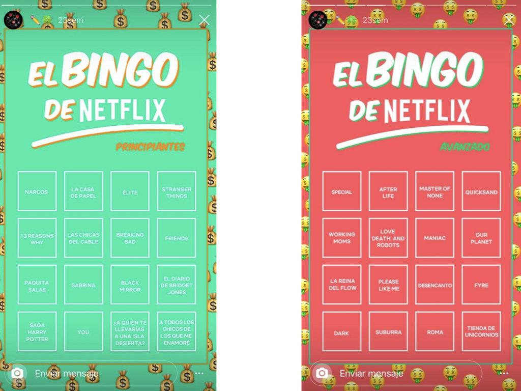 Bingos on Netflix Instagram