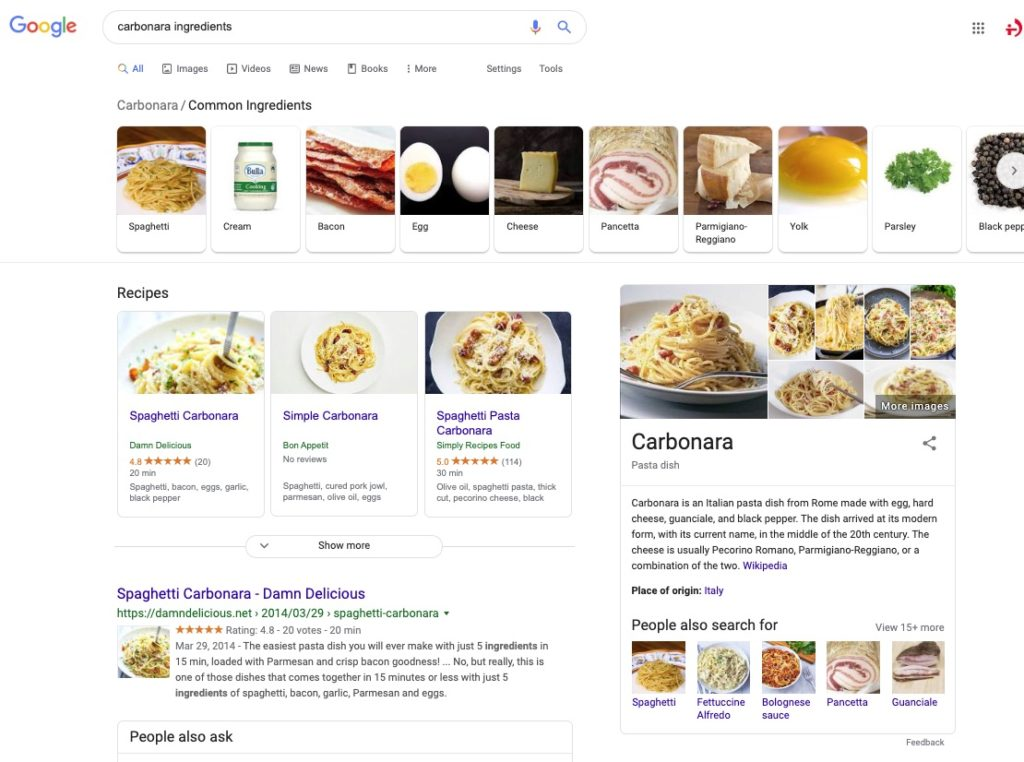 Search results for spaghetti carbonara ingredients search query