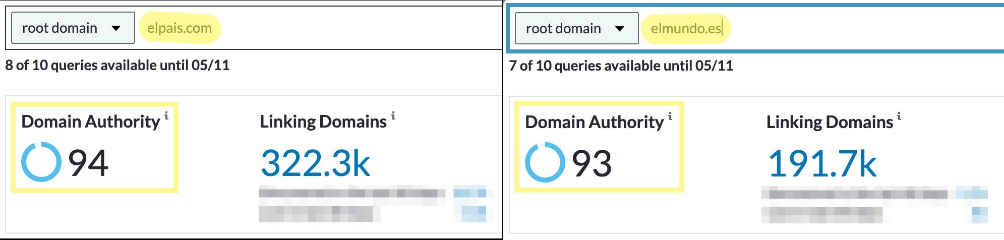 Domain comparison with Moz's Link Explorer