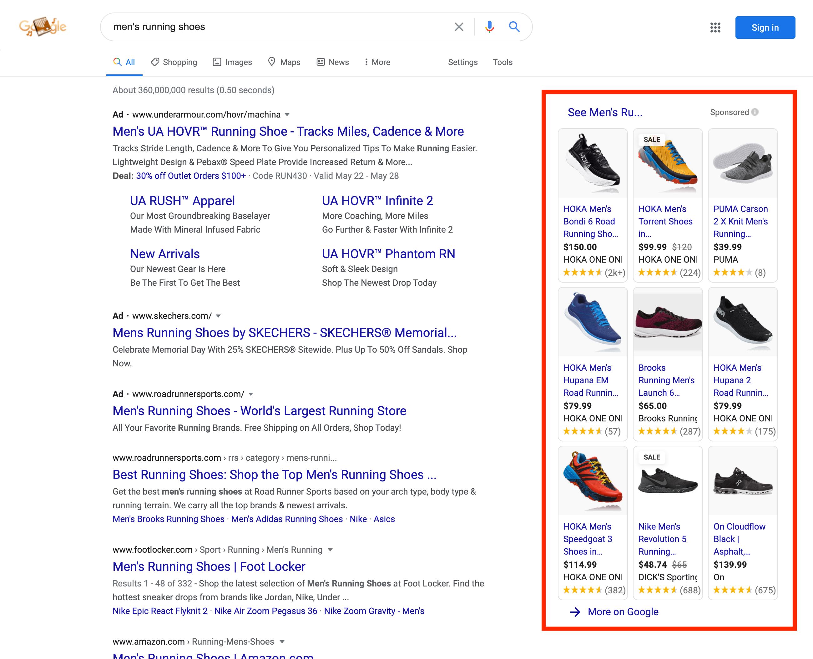 Google shopping results desktop sidebar