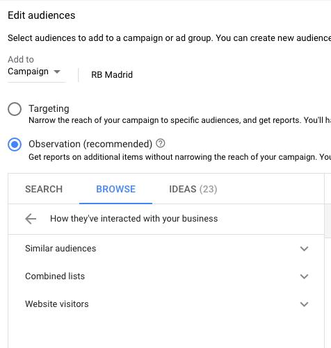 Edit audiences in Google Ads