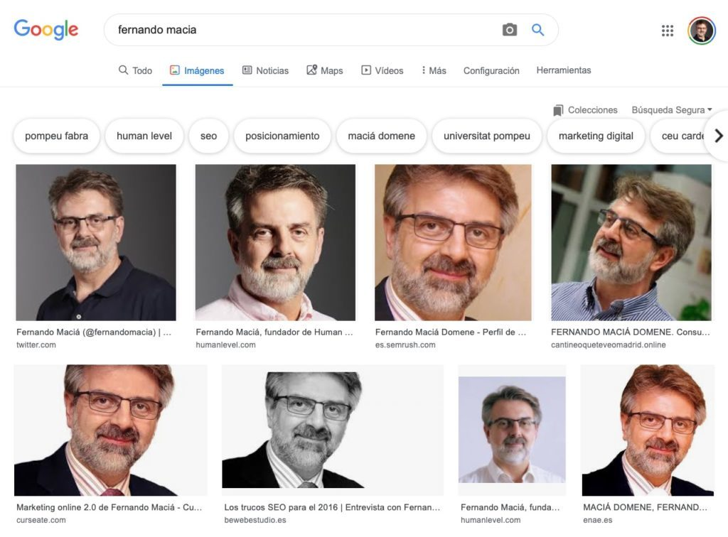 Entities in Google Images