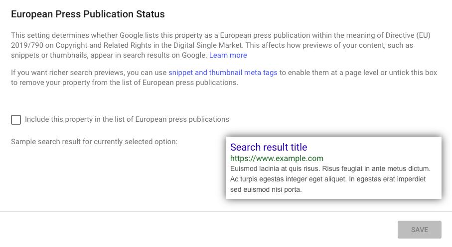 European press publication status in Google Search Console