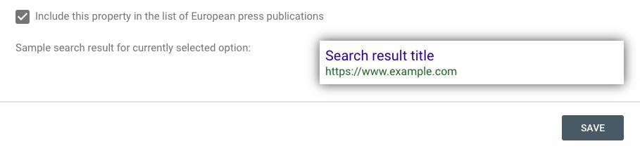 European press sample search result