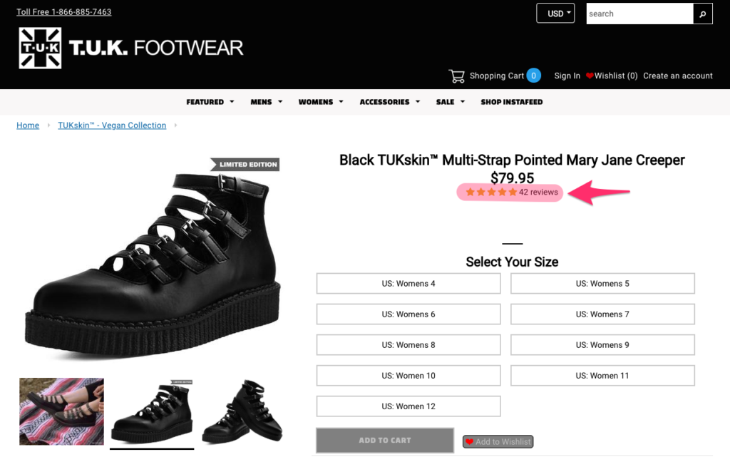 Judge.me plugin used by TUK shoes on their shopify-based online store