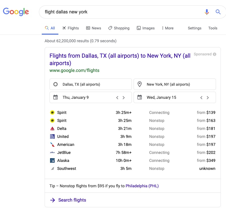 Direct results for flight search queries