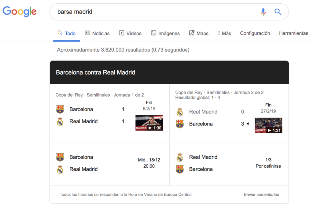 Football match results featured snippet