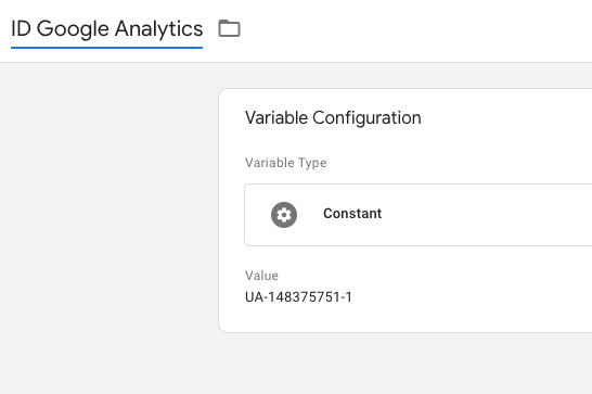 Google Analytics ID constant variable