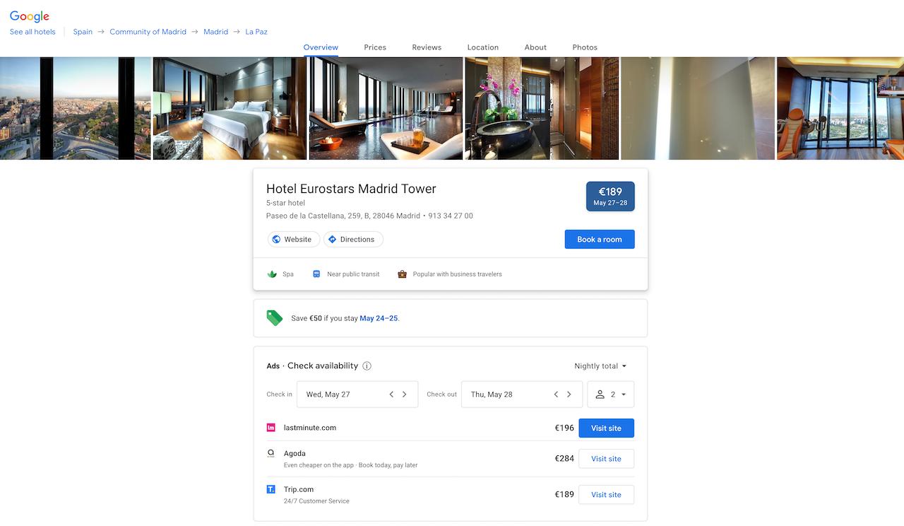 Google hotel details