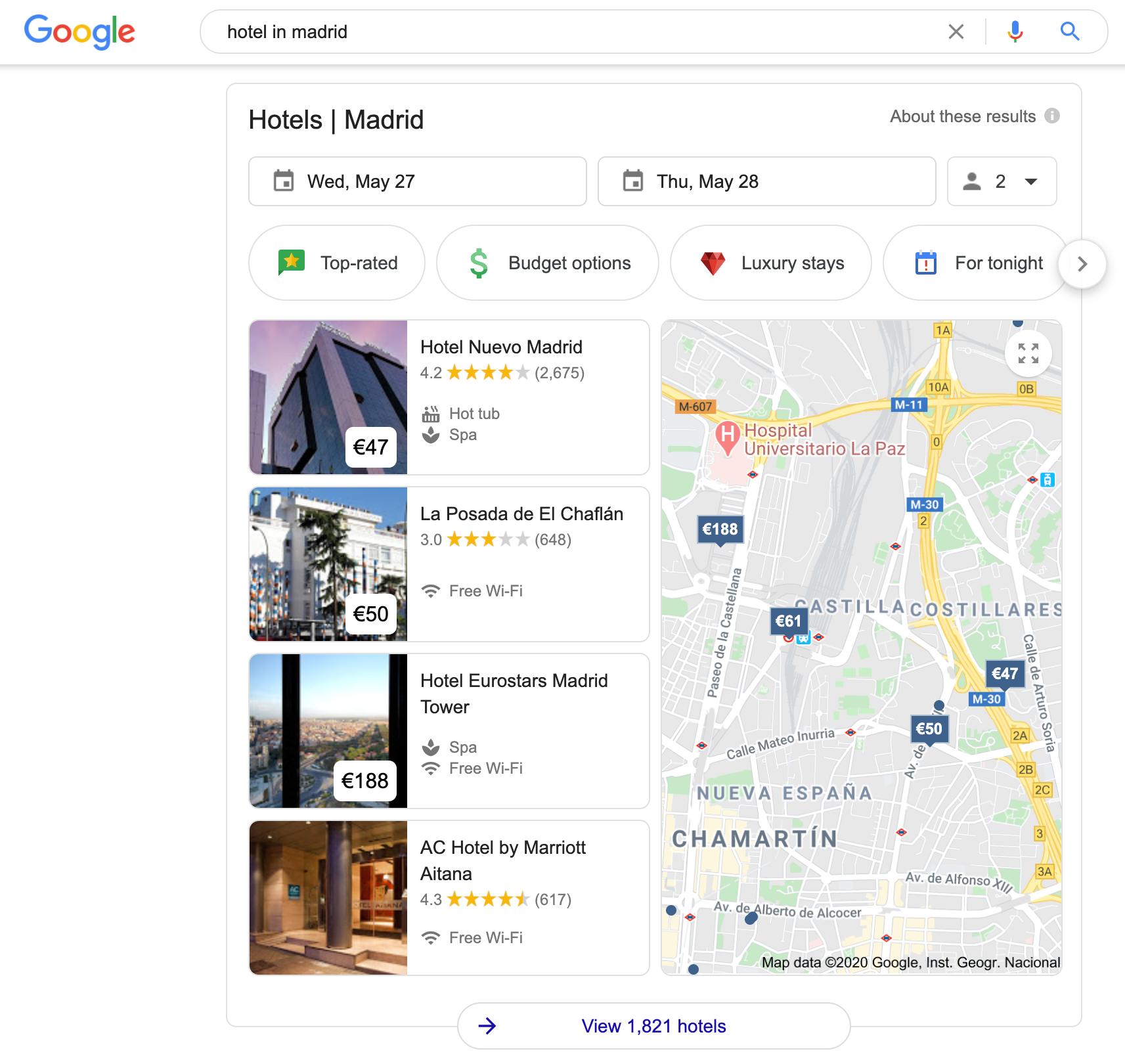 Google hotels SERP features