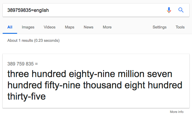 Google reading numbers