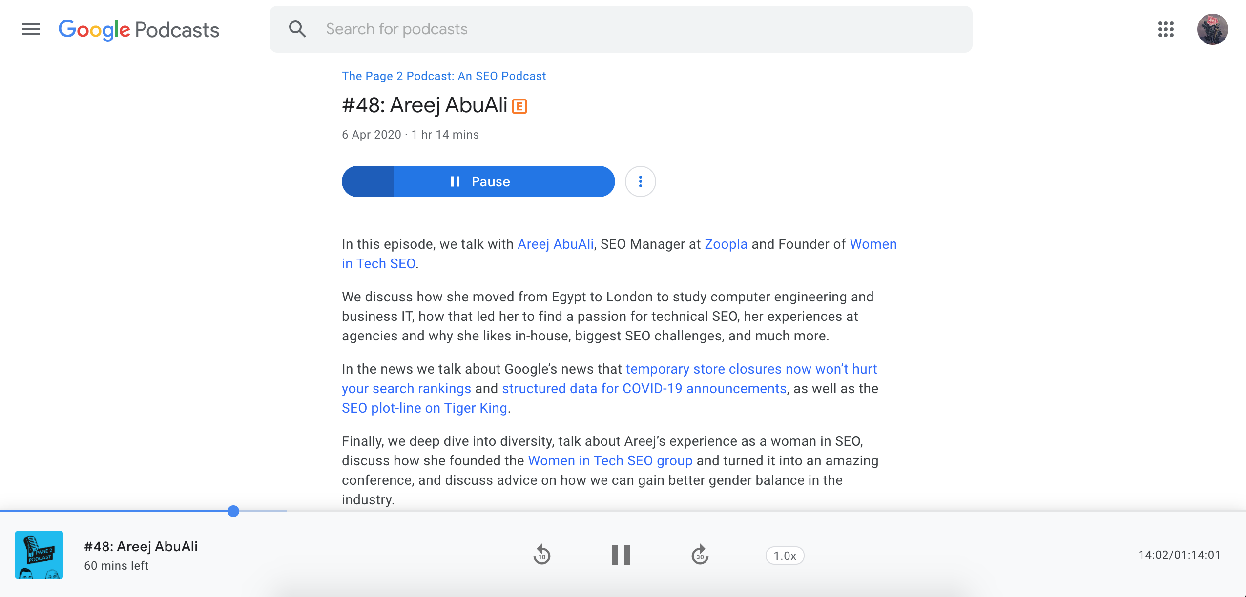 Google Podcast detail page