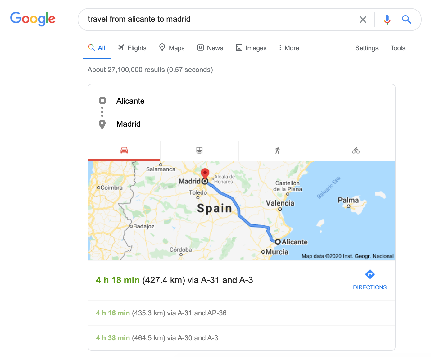 Google SERP routes