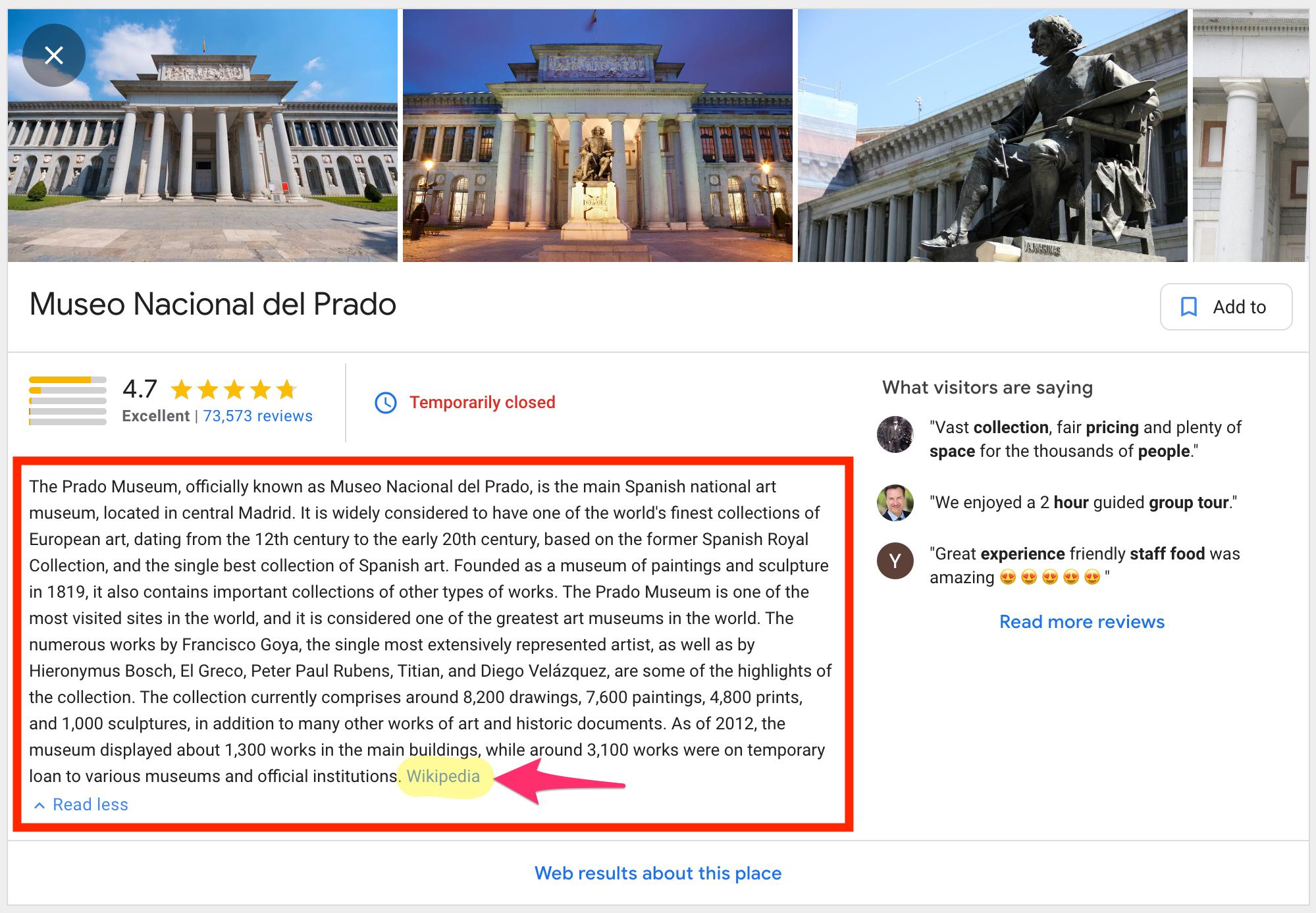 Google travel tops sights detail