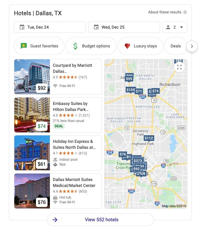 Direct results for hotel search queries