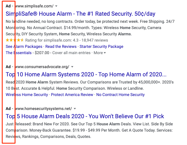 Google Ads how they look in the SERPs