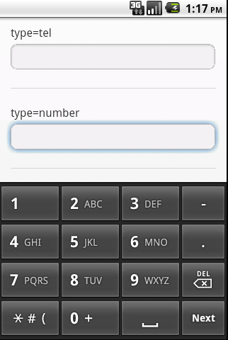html5 type number field
