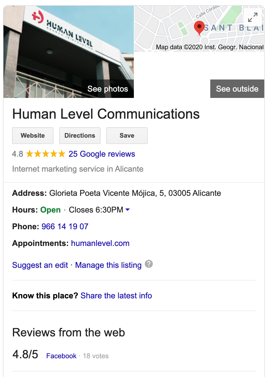 Local business knowledge graph