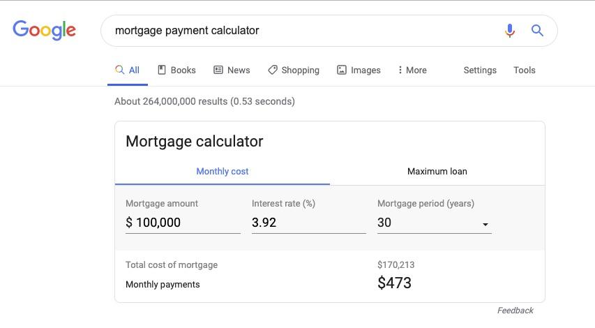 Mortgage calculator Google