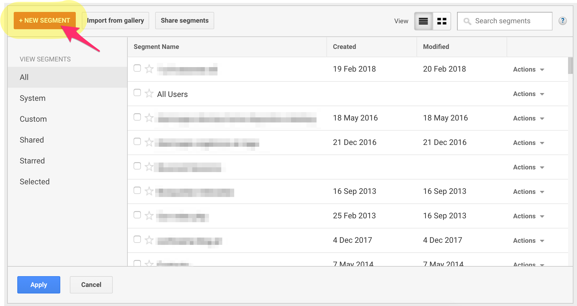 How to create a new segment in Analytics