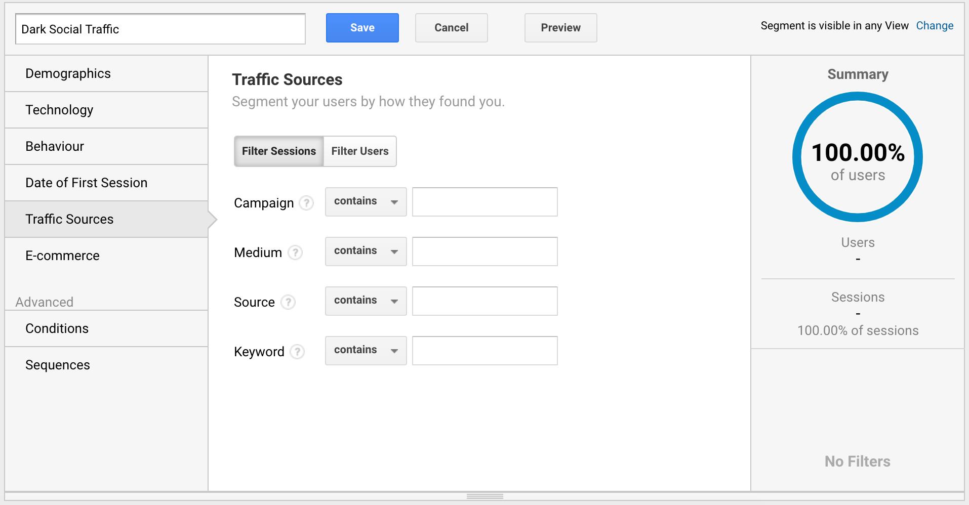 New segment traffic sources