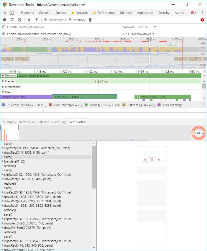 Paint profilers Chrome Dev Tools