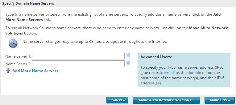 DNS server configuration panel for a domain