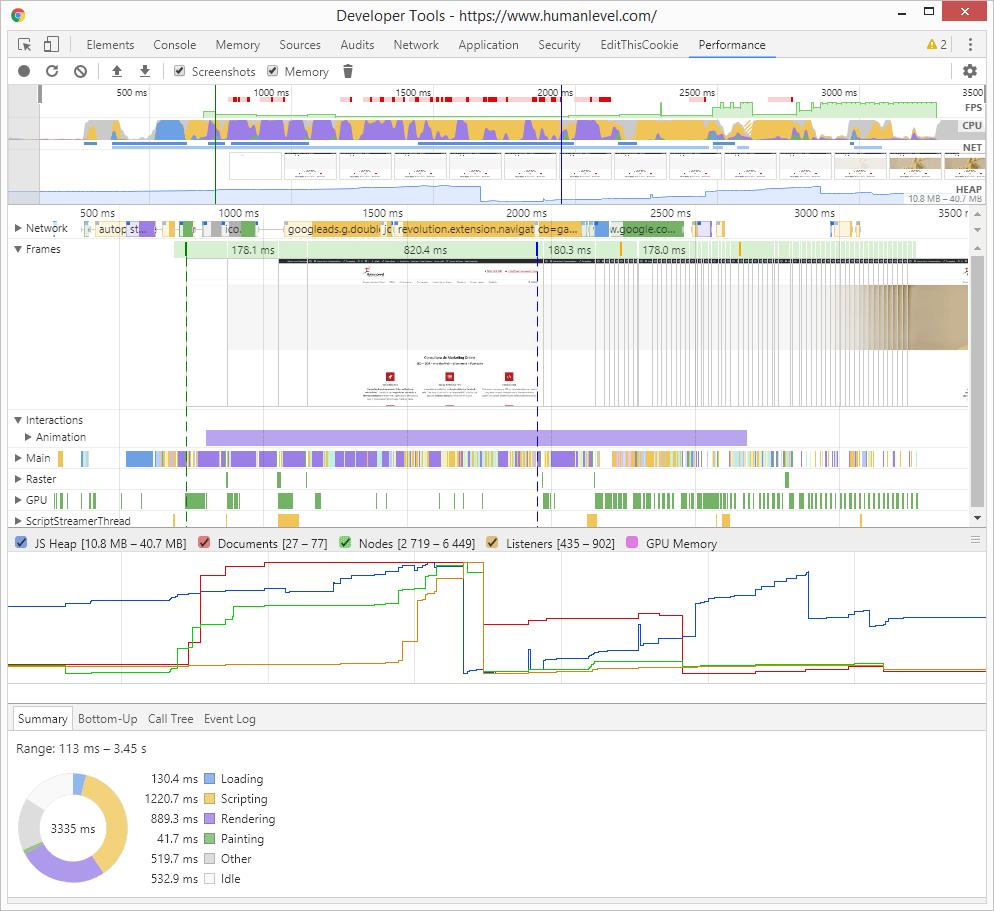 Performance tab Chrome Dev Tools
