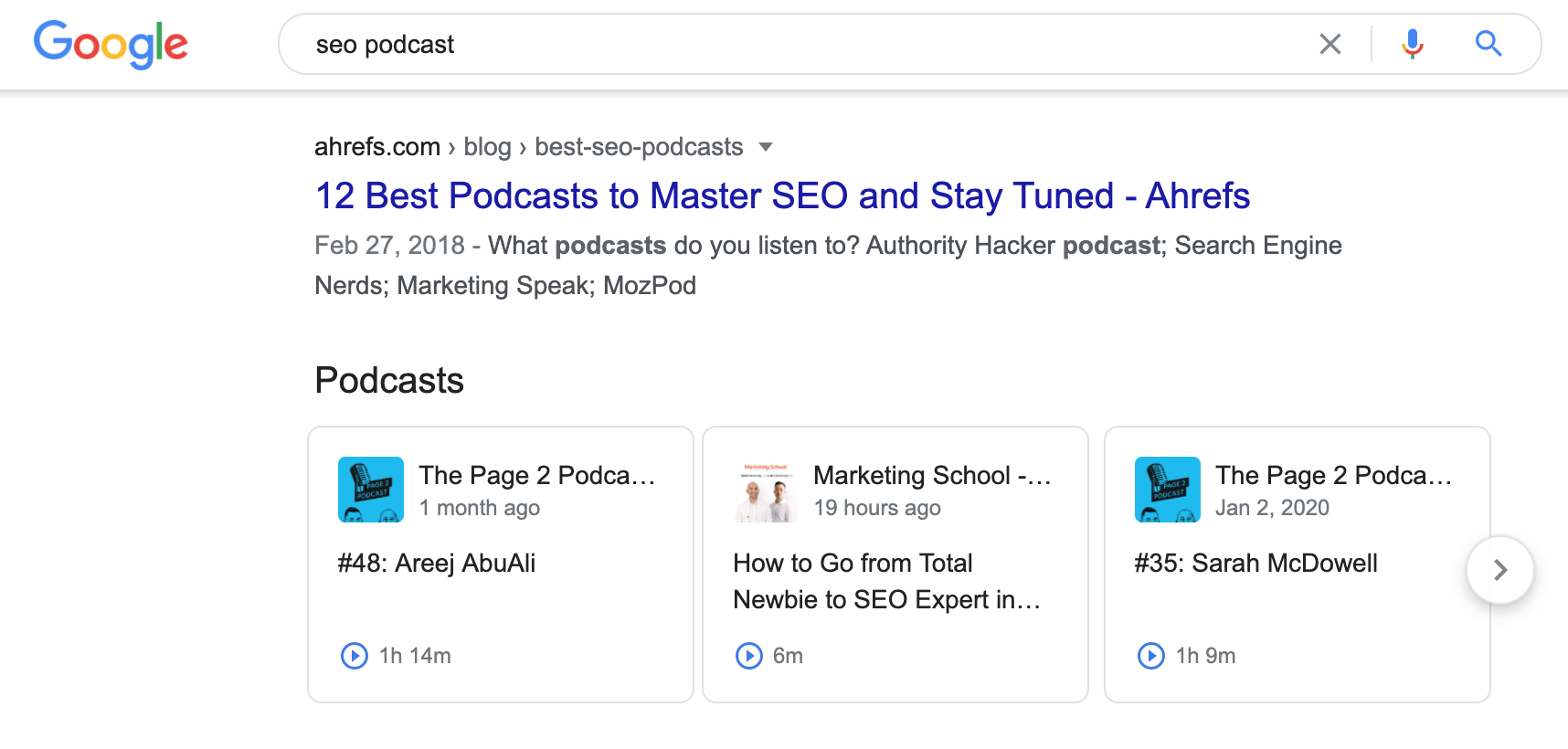 Podcast rich results in Google SERPs