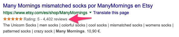 Rich snippet with a review schema markup in Google