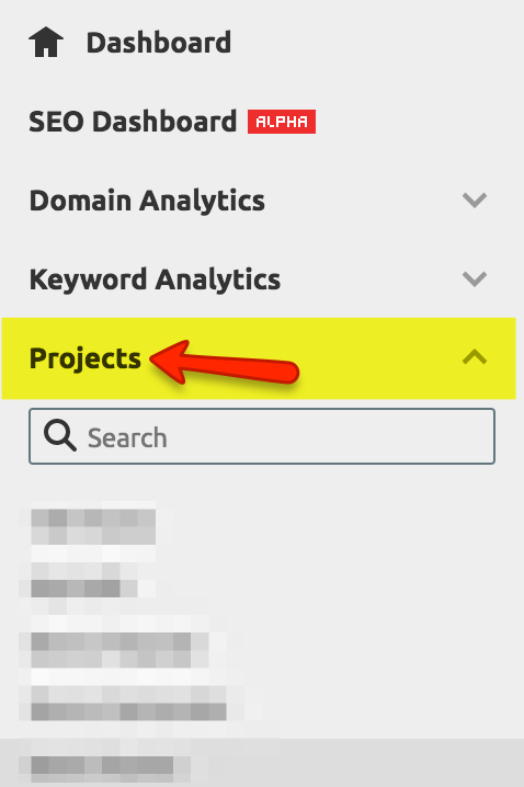 Creating projects in SEMRush for a more in-depth analysis of backlinks