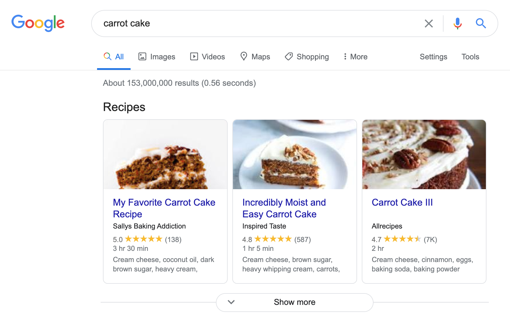Recipes in Google SERPs