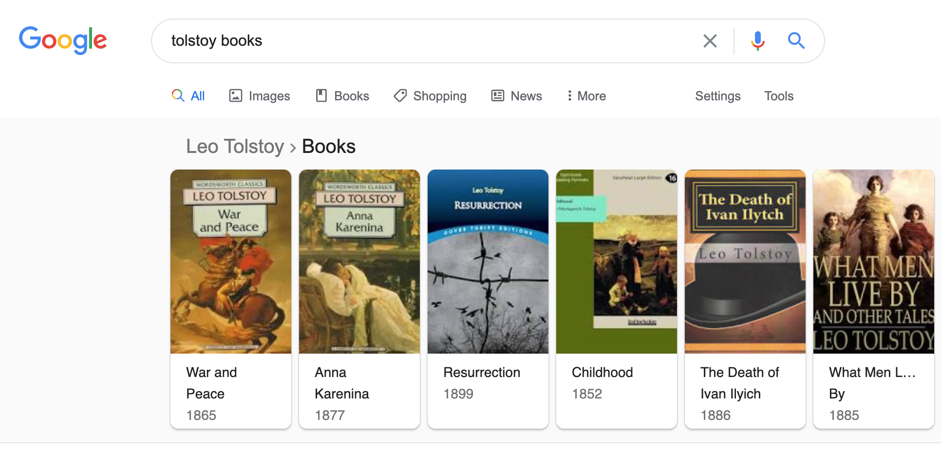 Rich cards for books in Google SERPs