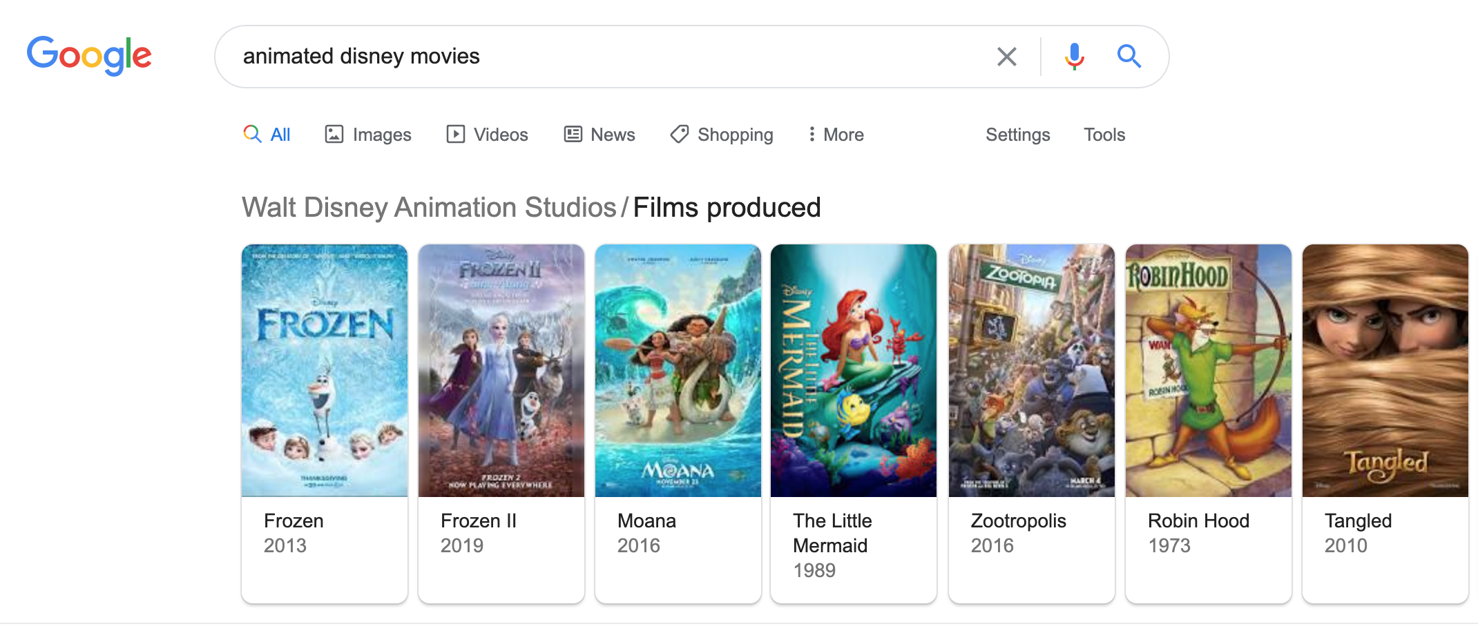 Rich cards for movies in Google SERPs