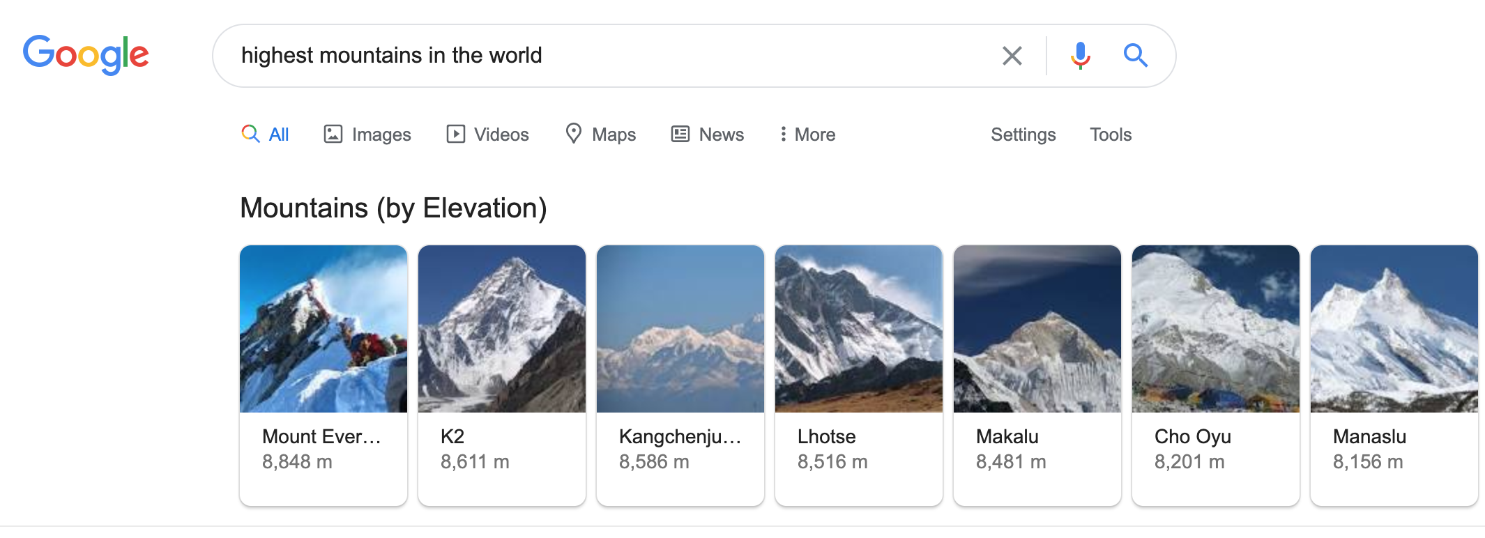 Rich cards for highest mountains in Google SERPs