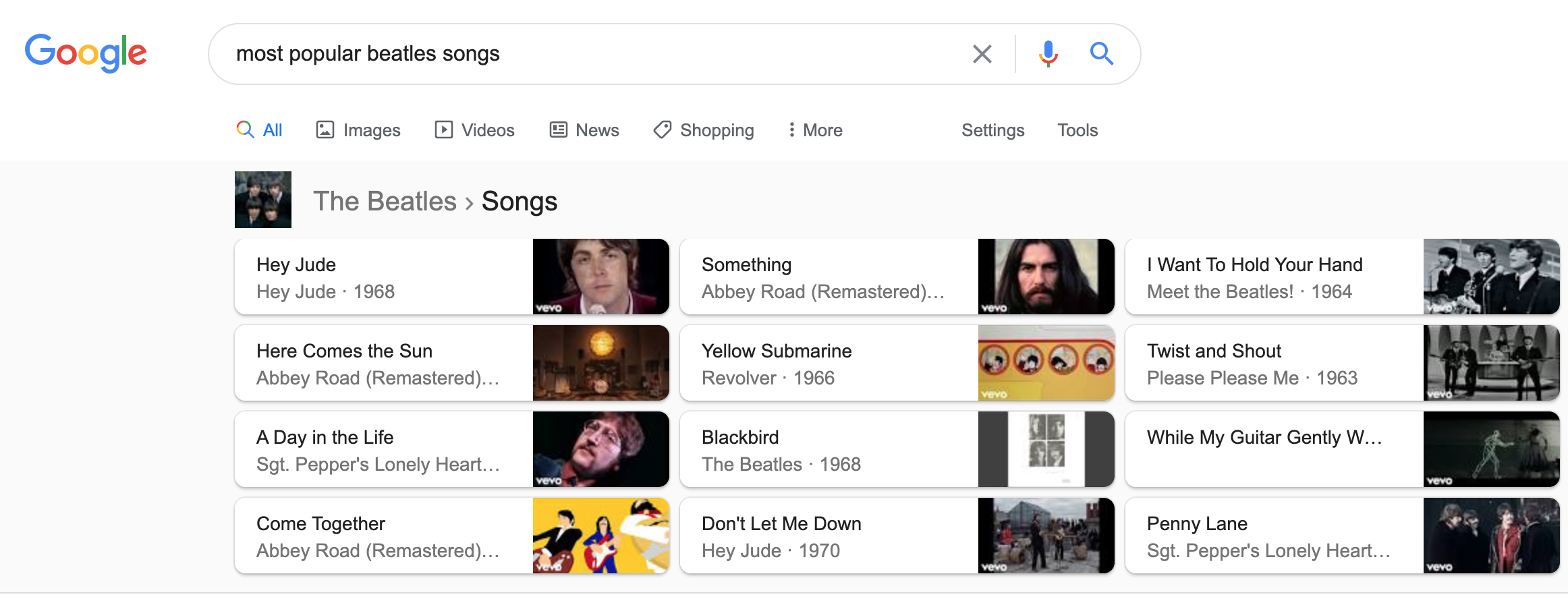 Rich cards for songs in Google SERPs