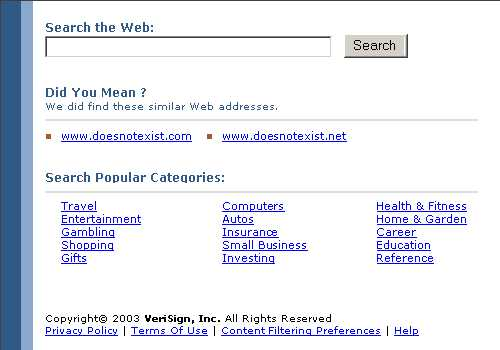 Site shown by VeriSign in 2003 for non-existing .com domains