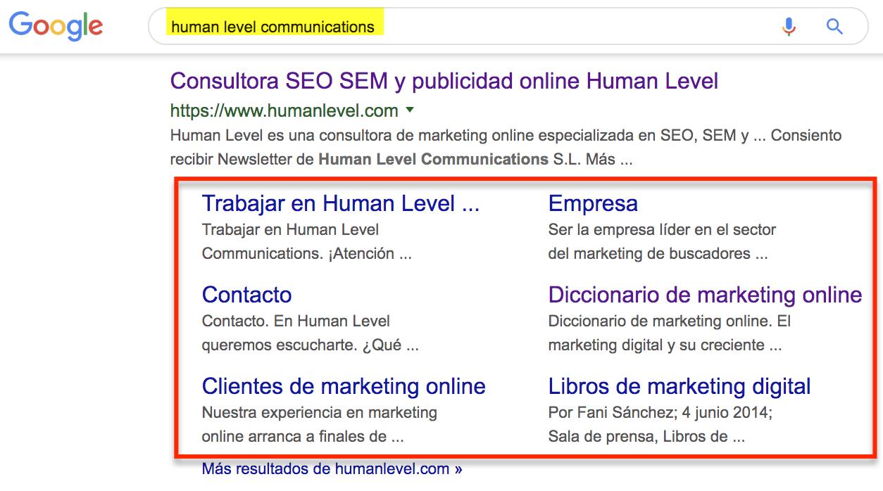 Sitelinks in Google SERPs