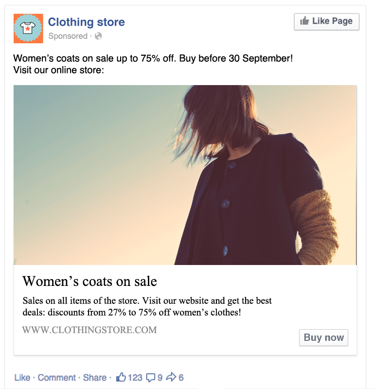 Sponsored ad on Facebook example