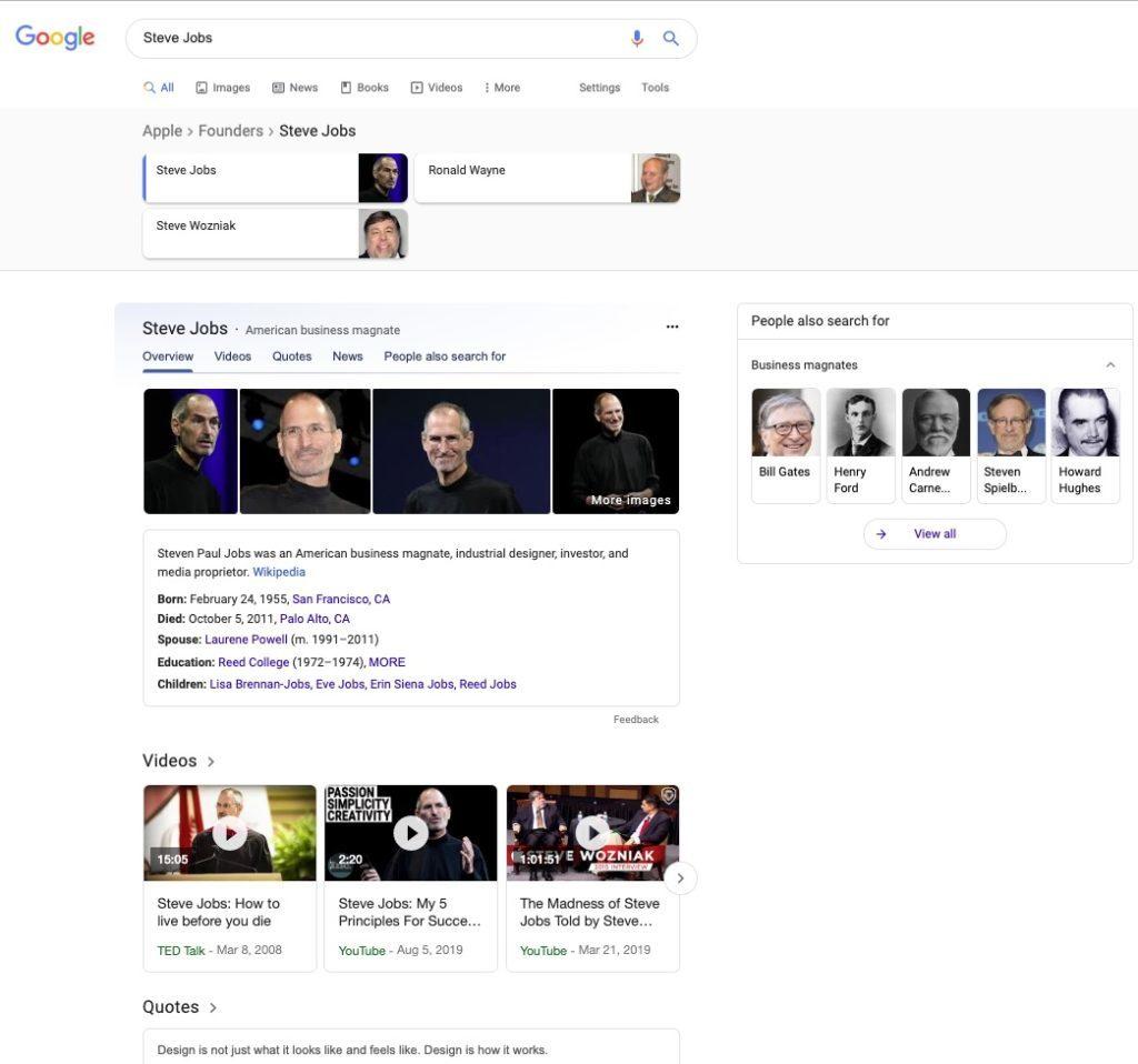 Steve Jobs in the SERPs