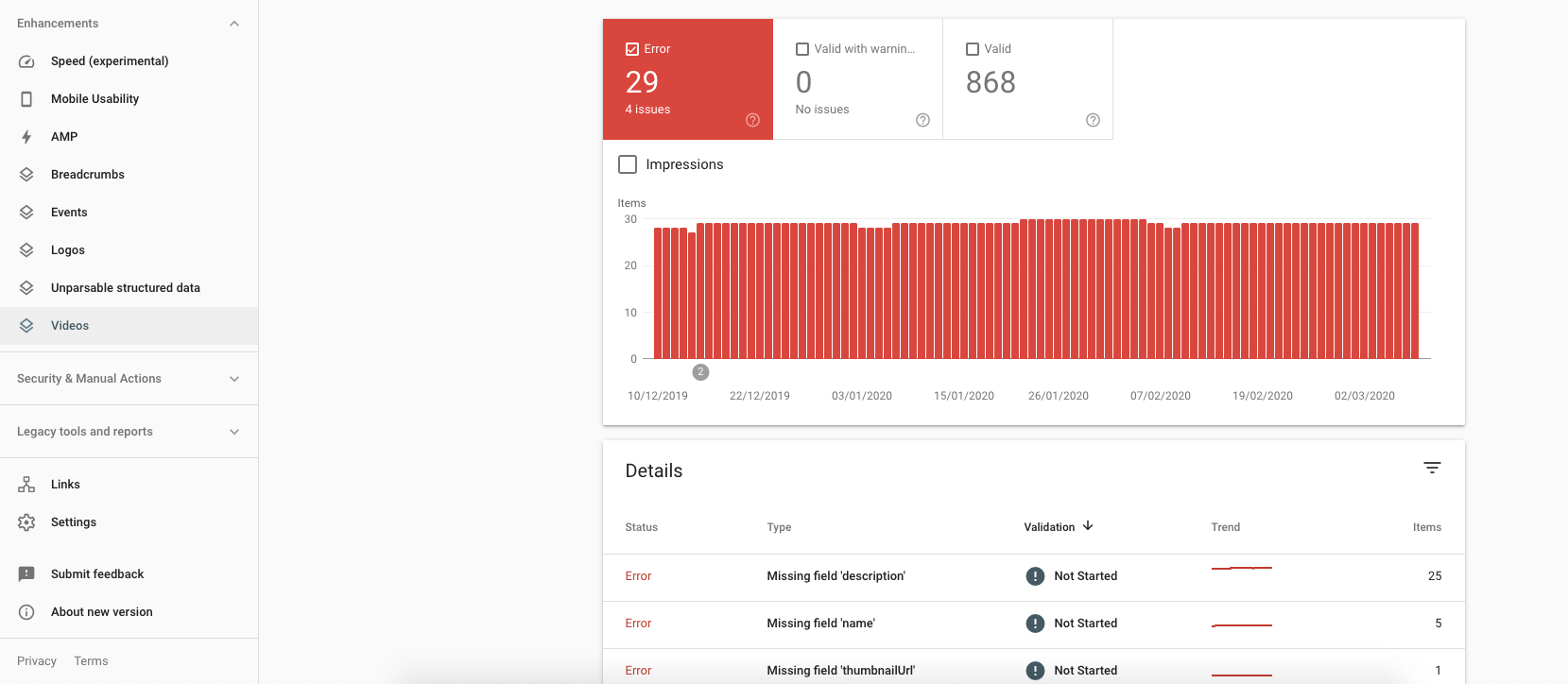 Structured data errors on Google Search Console