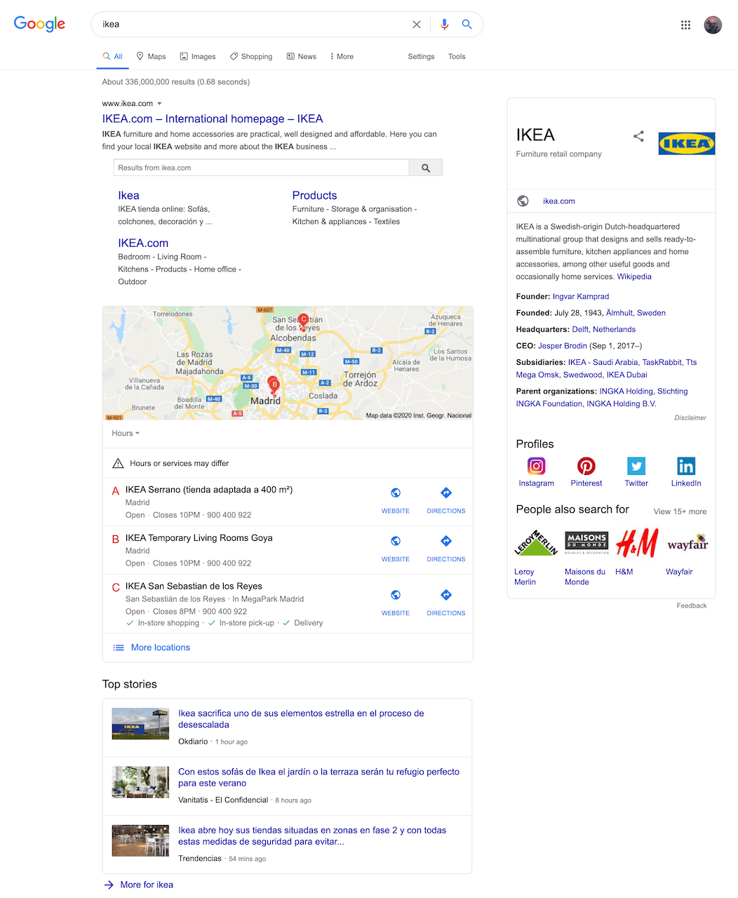 Top stories in between traditional results in Google SERPs