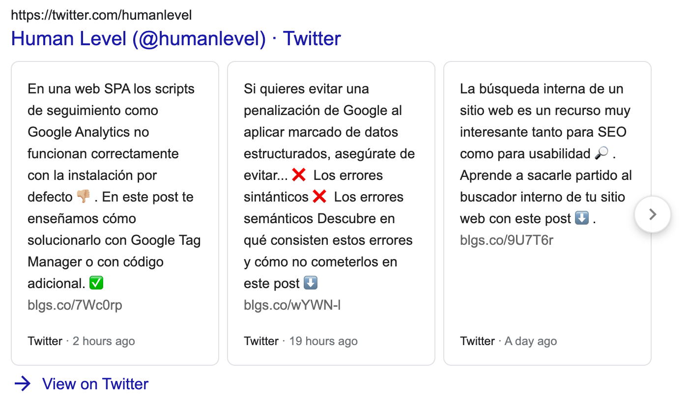 Twitter box SERP feature