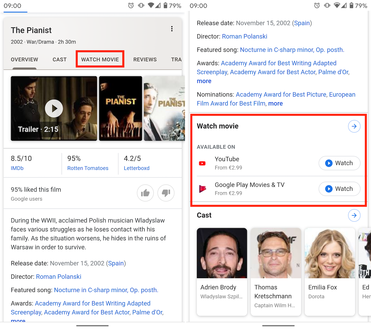 Movie results on Google